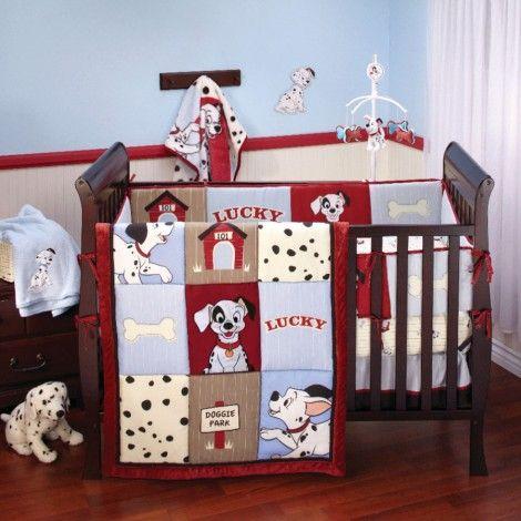 101 DALMATIANS 4-Piece Crib Bedding Set. SO Cute! I have been thinking a Disney themed nursery