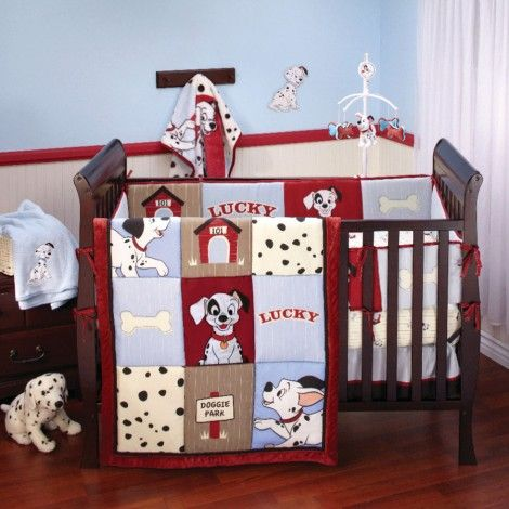 101 DALMATIANS 4-Piece Crib Bedding Set. SO Cute! I have been thinking a Disney themed nursery