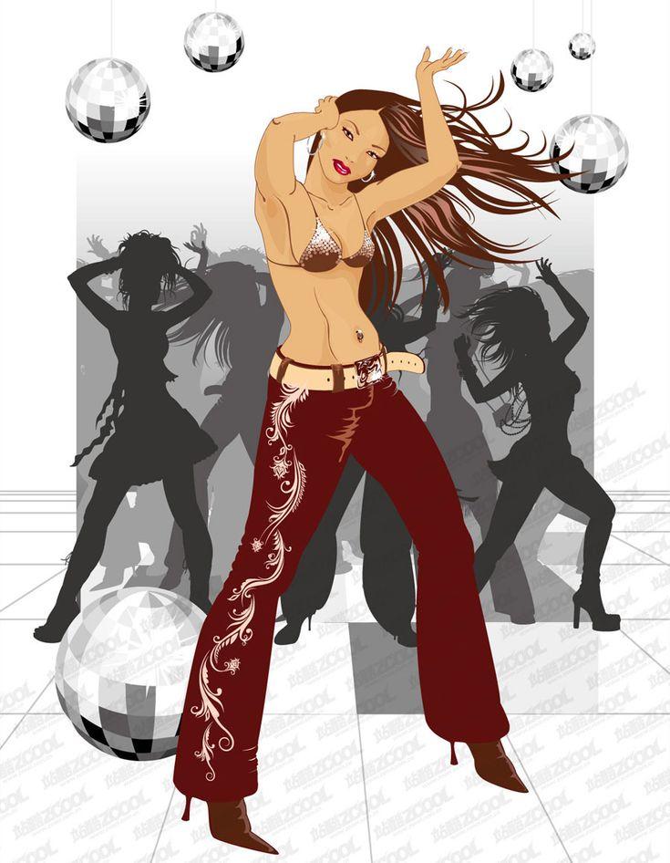 Векторная графика. Клипарты. танцующие девушки. Рисунки женщин и девушек в векторе.