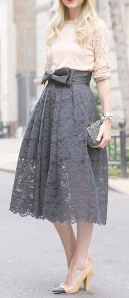 gray lace skirt with blush top