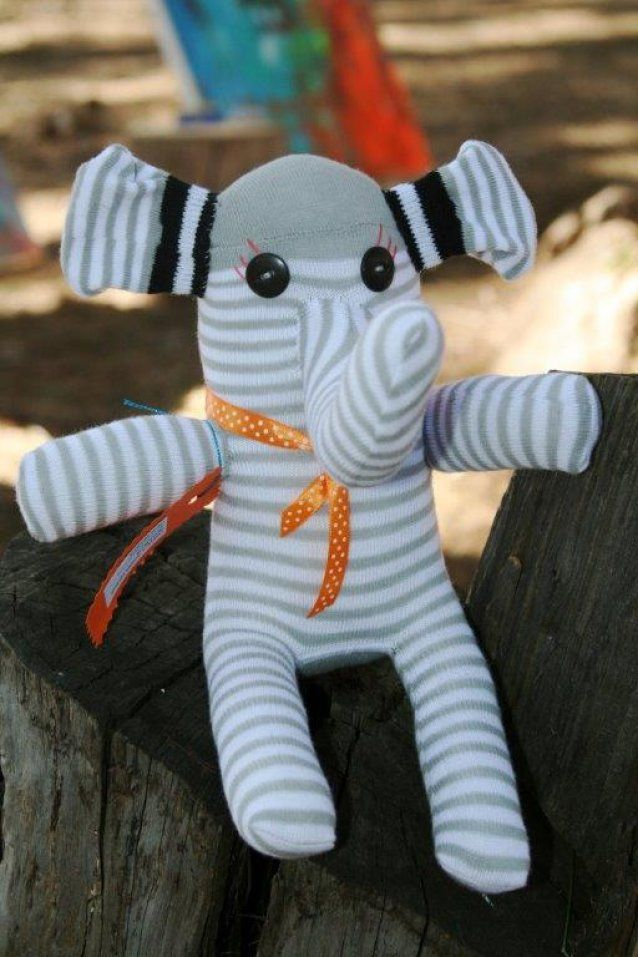 Sockimal Elephant by Sockimals Made from a pair of Adult Socks. Each Elephant will trumpet their way into your heart with it's unique character, are cuddly and filled with love!