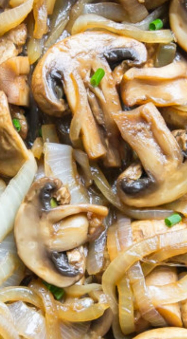 Balsamic Mushrooms and Onions ~ An easy, savory side dish you can whip up about 10 minutes before you are going to eat them.