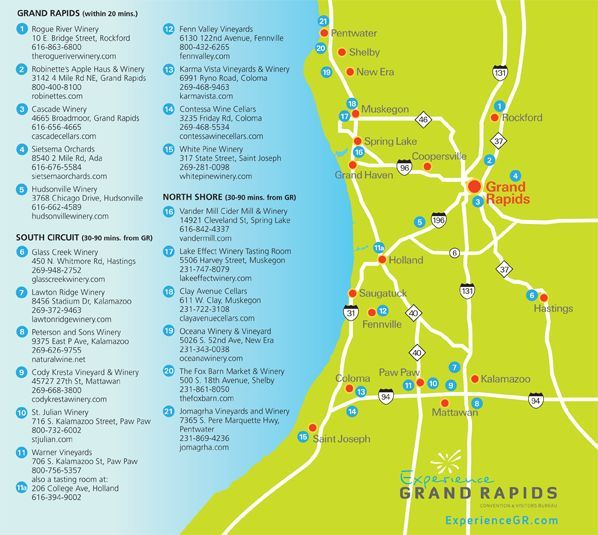 Looking for wineries in West Michigan? Use this Wine Guide map to find new ones near you or while you are traveling in the area.