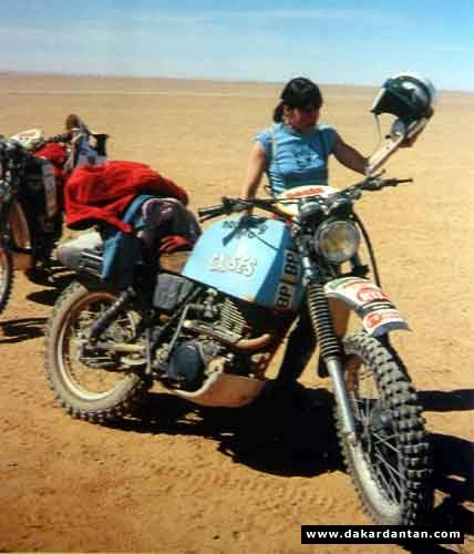Marie Ertaud on her XT 500 in the 1979 Paris-Dakar rally. She placed 34th overall.
