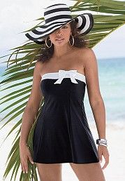 Bandeau-style Midnight navy blue swimdress with white trim and bow and Removable/adjustable white strap