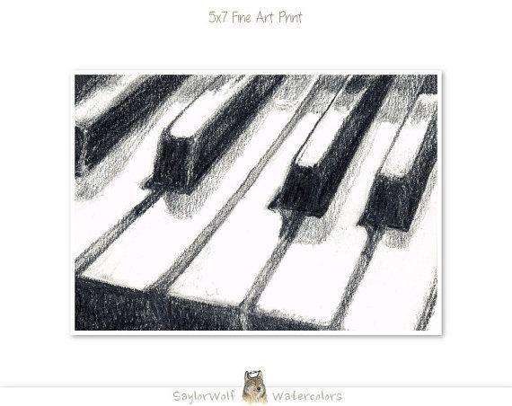 clavier de piano 5 x 7 art imprim du dessin original de. Black Bedroom Furniture Sets. Home Design Ideas