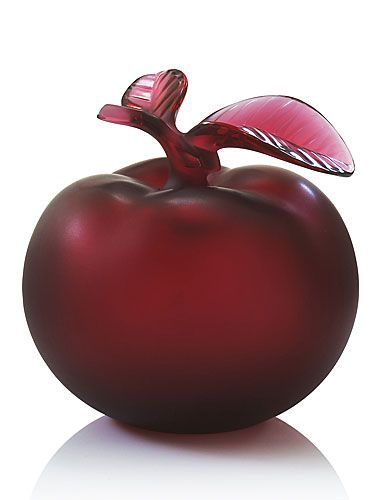 Lalique Rouge Pomme Perfume Bottle with satin finish. Evokes the garden of Eden and the forbidden fruit.
