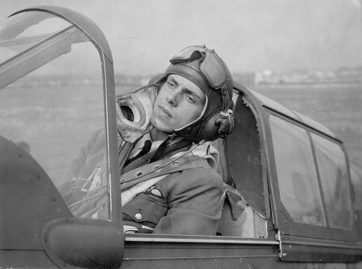 News photo of Canadian fighter pilot Cliff Horncastle preparing to fly out of an unidentified UK airfield. Horncastle flew the P-40 Tomahawk fighter and belonged to 414 Fighter Squadron, RCAF. Horncastle was KIA on November 3, 1942.