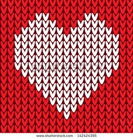 Red knitted sweater vector seamless pattern with heart