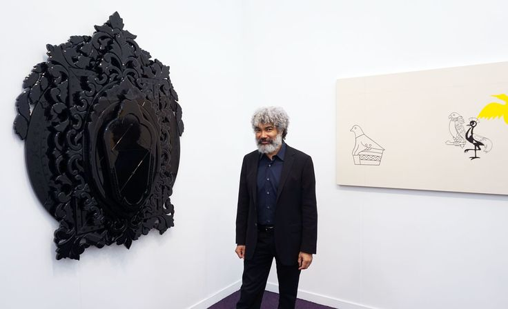 Fred Wilson Standing With His Work At Pace Gallery S