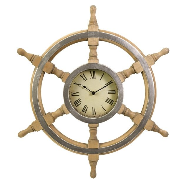 Wood ship wheel clock. From Seaside Decor Boutique.
