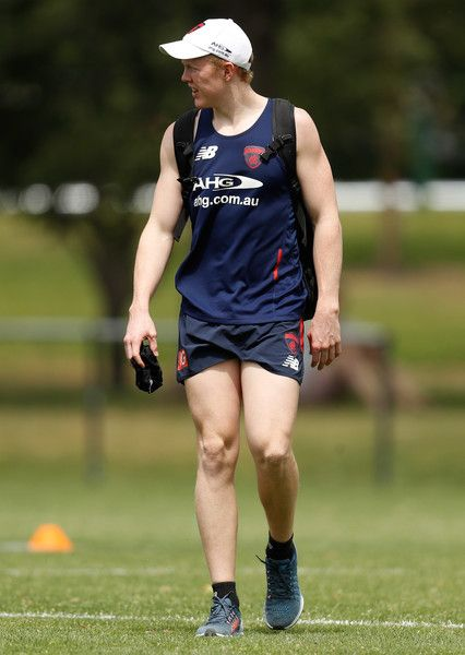 Clayton Oliver looks on during a Melbourne Demons AFL pre-season training session at Gosch's Paddock on November 21, 2016 in Melbourne, Australia.