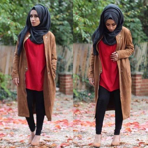 tan-long-leather-jacket-hijab- Military khaki hijab style http://www.justtrendygirls.com/military-khaki-hijab-style/
