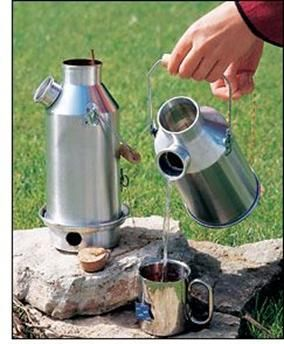 A Kelly Kettle / Volcano Kettle will boil water in 3 to 5 minutes depending on the fuel you're using. Made from aluminium it is essentially a double-walled chimney with the water contained in the chimney wall. Once the campkettle is filled with water, simply start a very small fire in the base, set the kettle on the base and drop additional fuel (twigs, leaves, grass, paper, etc.) down the chimney.