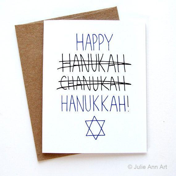Hanukkah Card Happy Hanukkah Card Blue and White by JulieAnnArt