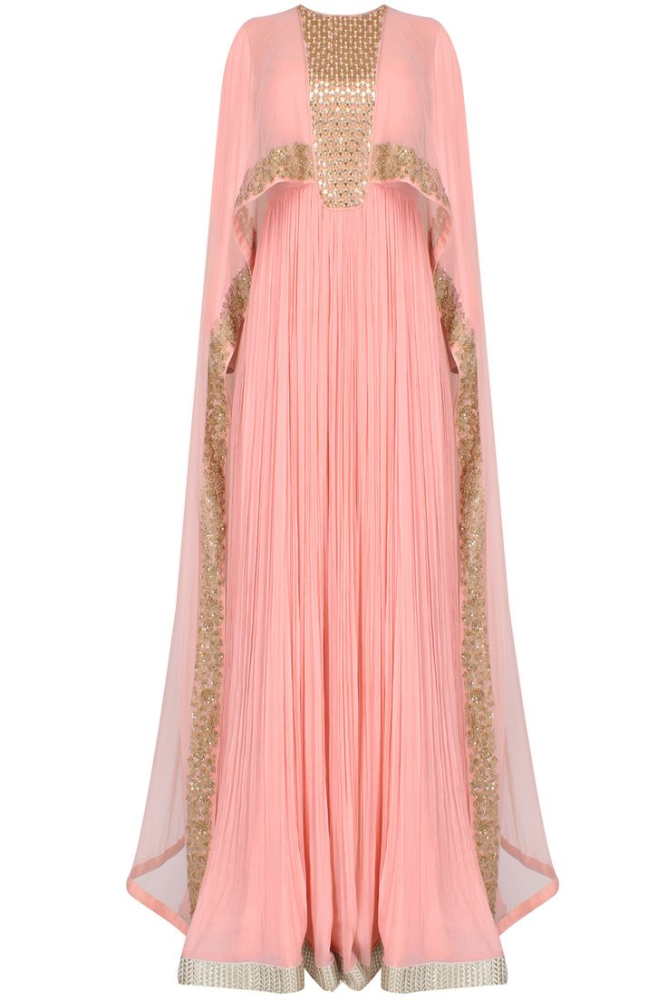 Pink pleated anarkali set with attached mirror work sheer cape available only at Pernia's Pop Up Shop.