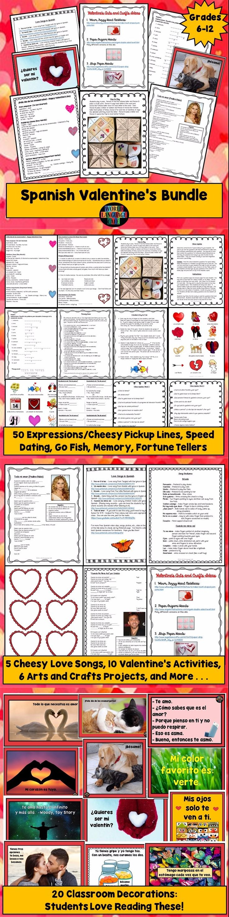 Tired of mopey kids on Spanish Valentine's Day, Día de los enamorados? Here's a way to guarantee that every student will feel the love (at least in Spanish class). This growing bundle includes games, songs, classroom signs, crafts, speed dating, fortune tellers, memes, and more for all levels of students from elementary to high school.