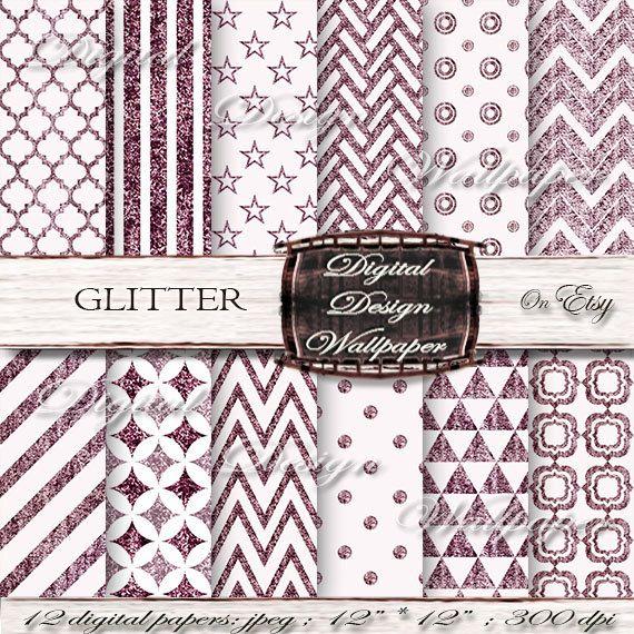 Purple Glitter Digital Paper for digital scrapbook lovers,Glitter Dots,Glitter Chevron,Christmas Glitter Paper,Sparkle Paper. Explore more products on: https://www.etsy.com/shop/DigitalDesignPaper/