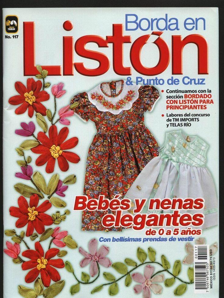 Revista bordado en listón y punto de cruz - Revistas de manualidades Gratis