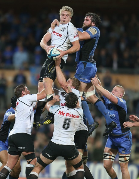 Pieter-Steph du Toit of the Sharks wins a lineout during the round 14 Super Rugby match between the Force and the Sharks at nib Stadium on May 17, 2013 in Perth, Australia.