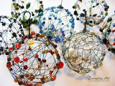 Everyday Art: Wire and Bead Ornaments to hang on the tree or around the house