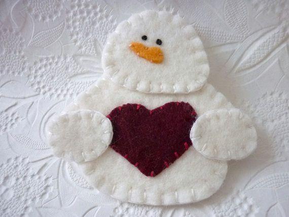 Felt Snowman Ornament  Felted Wool Felt by pennysbykristie on Etsy, by lynnette