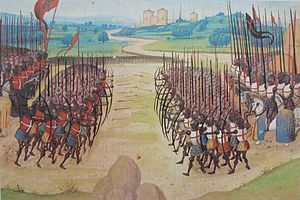 The Battle of Agincourt was a major English victory against a numerically superior French army in the Hundred Years' War. The battle occurred on Friday, 25 October 1415 (Saint Crispin's Day), near modern-day Azincourt, in northern France. Henry V's victory crippled France and started a new period in the war, during which Henry married the French king's daughter and his son, Henry VI, was made heir to the throne of France .