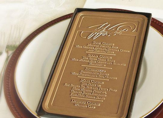 Custom Printed Chocolate Bars As Menus Or Programs Would Make A Great Wedding Favor