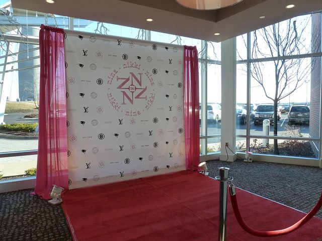step and repeat mural sweet 16 party   We love the way this step an repeat is set up. It's wide enough for photos and the pipe and base is hidden by the drapes.