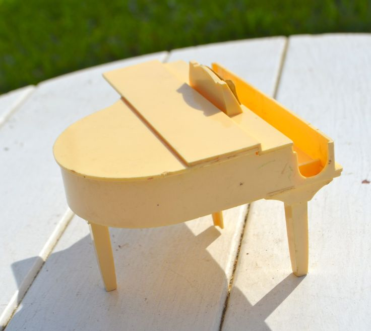 BABY GRAND PIANO Doll Furniture 1940's Ivory Plastic with Music by StudioVintage on Etsy