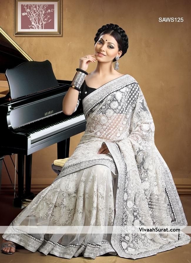 White sarees | Home » Sarees » Embroidered White Net Saree