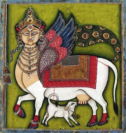 Kamadhenu/Surabhi, divine bovine-goddess described in Hindu mythology as the mother of all cows. Modern, Rajasthan, India, c. 1825-55.