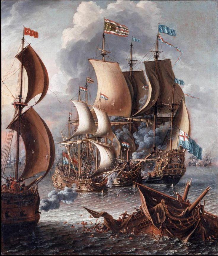Морской бой между берберскими пиратами и англо- голландским флотом Castro, Lorenzo, Public Domain