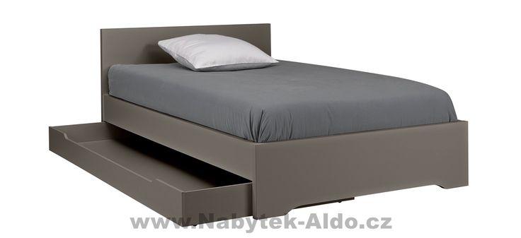 Studentská postel s přistýlkou v šedém odstínu