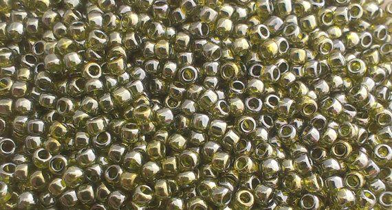 Toho Seed Beads 15/0 Gold Lustered Green Tea 457 by GatewaytoBeads, kr13.50