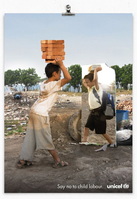 UNICEF Say No to Child Labour print advertisement. Non profit advertising | Charity Advertising |