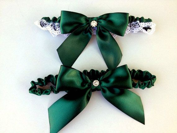 Hunter Green Wedding Garter  Beautiful Bridal by HopesBridal, $29.95