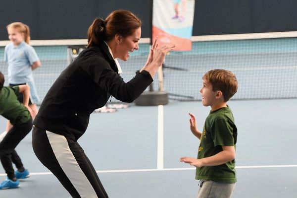Catherine, Duchess of Cambridge plays tennis with children as she visits the Lawn Tennis Association at National Tennis Centre on October 31, 2017 in London, England.  The Duchess of Cambridge became Patron of the LTA in December 2016. - 18 of 57
