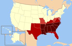 """Modern definition The states in dark red are almost always included in modern day definitions of the South, while those in red are usually included. Those in dark red, with exception of North Carolina and Tennessee and perhaps Arkansas, are also called the """"deep south."""" The striped states are sometimes/occasionally considered Southern"""