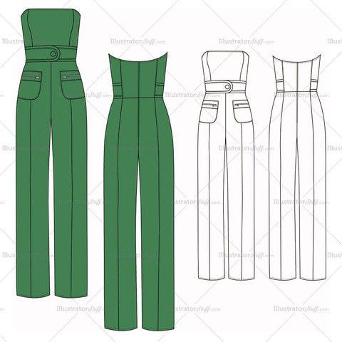 Women's Strapless Jumpsuit Fashion Flat Template