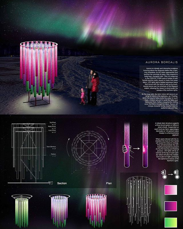 An entry selected by one of our partnering Universities - #auroraborealis by Laurentian University (@laurentianu). If your educational institution is interested in becoming a partner, please email us at info@winterstations.com.  #architecture #art #design #publicart #winterscape #aurora #laurentianuniversity #laurentian #warminghuts #winter #snow #ice #landscape #landscapearchitecture #interiordesign #rendering #winterart #artintervention #kewbeach #balmybeach #ashbridges #toronto #ontario…