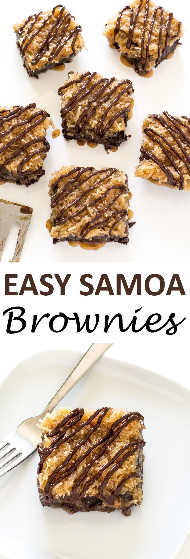 Rich and chocolatey Samoa Brownies topped with a sweet coconut topping. They taste just like the Samoa Cookie you love! | chefsavvy.com #recipe #chocolate #dessert #samoa #brownies #coconut