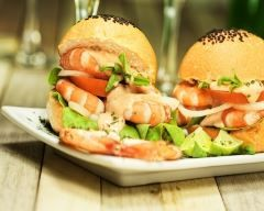 Hamburger de crevettes au celeri