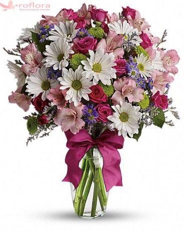 Full of life - Buchet din minirosa, crizanteme si alstroemeria