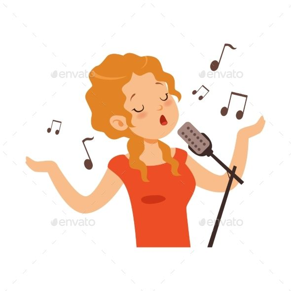 Girl Singing With Microphone Singer Character Cartoons Vector Vector Illustration Illustration