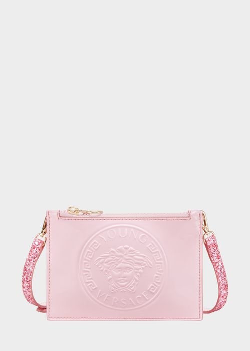 Young Versace Young Versace Glitter Strap Bag for Girls | UK Online Store. Young Versace Glitter Strap Bag by Young Versace for Girls. Patent leather bag, with embossed Young Versace Medusa logo, and glitter shoulder strap.