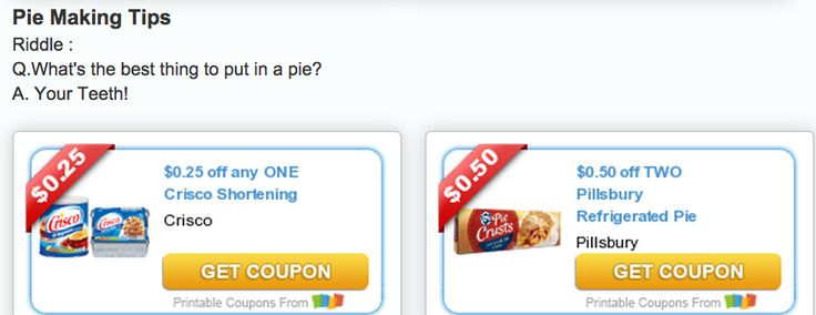 #Coupons Smile ;) What's the best thing to put in a pie? See these free printable coupons plus a coupon for a sweetener that will make you pie fab on our blog.  Reserve your coupons now, and print later!