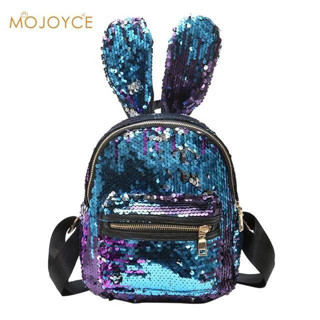 Ladies Bling Sequins Backpack , Big Rabbit Ears Double Shoulder Bag