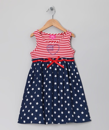 Take a look at this Navy & White American Flag Dress - Girls by Zunie & Pinky on #zulily today!