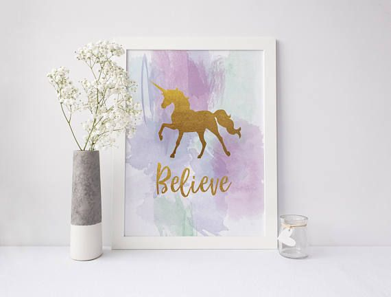 Gold Unicorn Nursery Print Believe in Yourself Watercolour